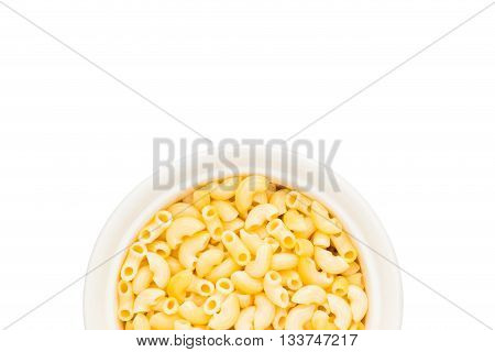 White bowl of tasty macaroni on white isolated background with soft drop shadow