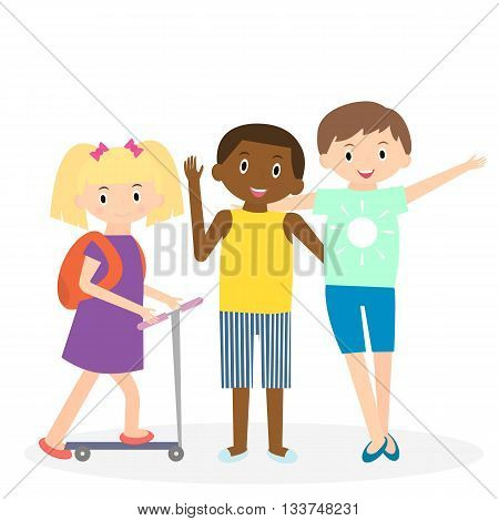 Children friends. Three friends leisure time together. Kids isolated. Vector illustration