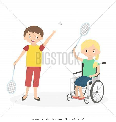 Disabled kid with friend. Handicapped child in a wheelchair with friend isolated on white. Special needs girl playing with friend. Vector Illustration