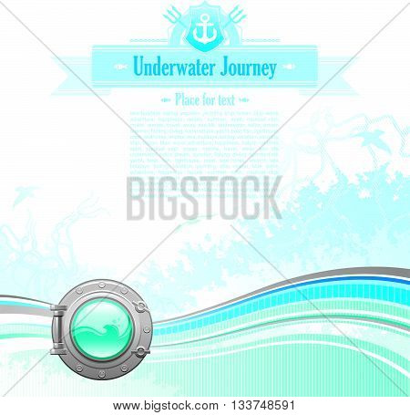 Sea travel background design in blue colors with net, foam, wave and seagulls and porthole icon.