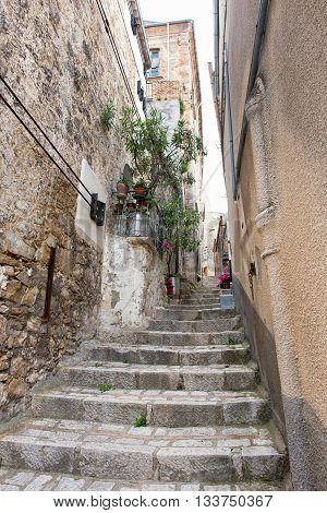 Narrow Flight Of Stone Steps In A Village