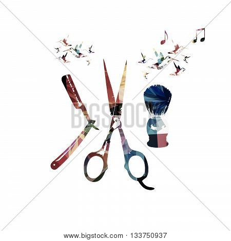 Vector illustration of shaving accessories with hummingbirds