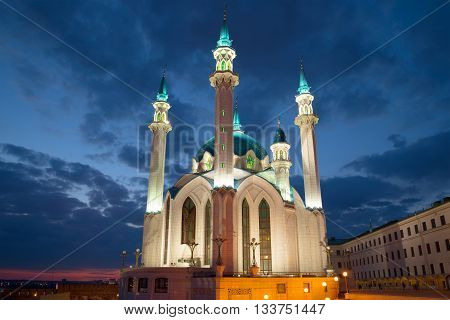 The Kul Sharif mosque, night in april. The Kazan Kremlin