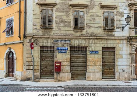 Gorizia - circa May of 2015, Veneto region, Italy: Old Post office building (Newspapers: Il Piccolo, Corriere della Sera, Messagero Veneto)