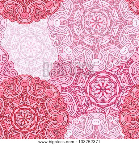 Seamless red pattern. Vintage decorative elements. Hand drawn background