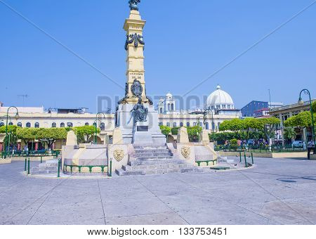 SAN SALVADOR EL SALVADOR - MAY 06 : The Plaza Libertad in San Salvador El Salvador on May 06 2016. Plaza Libertad was the starting point of the city's expansion in the middle of the 16th century.