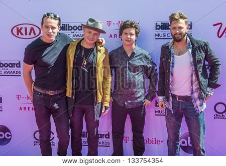 LAS VEGAS - MAY 22 : (L-R) Musicians Magnus Larsson Mark Falgren Lukas Graham and Kasper Daugaard of the band Lukas Graham atend the 2016 Billboard Music Awards on May 22 2016 in Las Vegas.