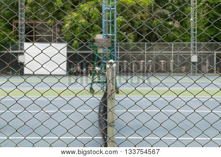 This a photo of Tennis court backside steel lattice