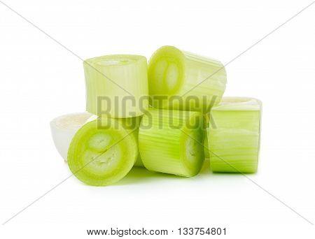 Sliced Japanese Bunching Onion Isolated