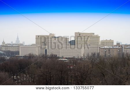 Moscow Ministry of Defense view from above background