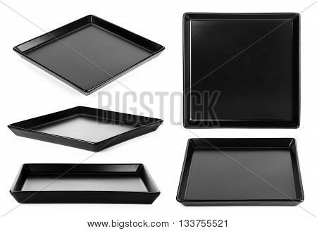 Black Plate Isolated On A White Background