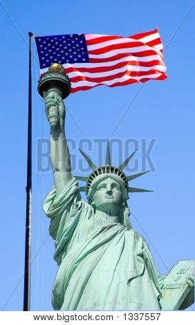 Statue Of Liberty And Flag