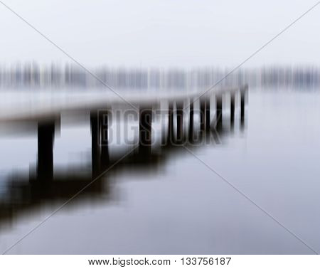 Horizontal black and white motion blur quay bridge abstraction background backdrop