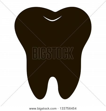 simple cartoon tooth white silhouette on a blue background teeth vector illustration icon logo first tooth. Medical dental office symbols. Care for the oral cavity dental health care hospital