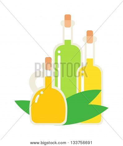 Small bottle of olive oil with cork stopper isolated. Vector oil bottle and olive oil bottle food ingredient healthy cooking. Diet fat yellow glass organic oil bottle and light virgin vegetarian oil.