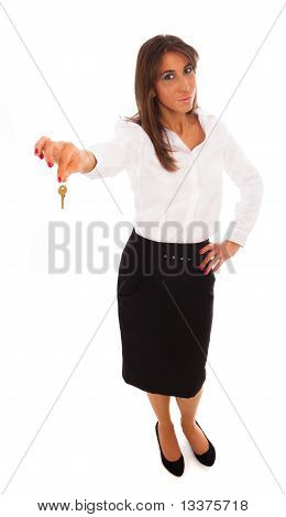 Business Woman Holding A Key