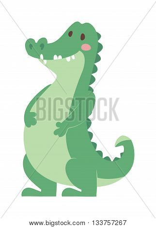 Cartoon green crocodile reptile flat vector illustration. and australian wildlife green crocodile reptile danger predator flat vector. Cartoon green crocodile reptile cartoon flat vector illustration