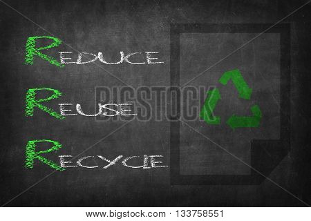 Reduce Reuse Recycle chalk word on black board