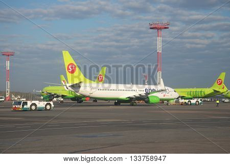 MOSCOW, RUSSIA - APRIL 30, 2016: The Boeing 737-800 (VQ-BKW) on the airfield of Domodedovo airport