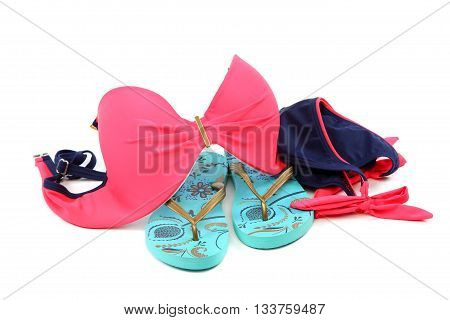 Female swimming set isolated on a white background.
