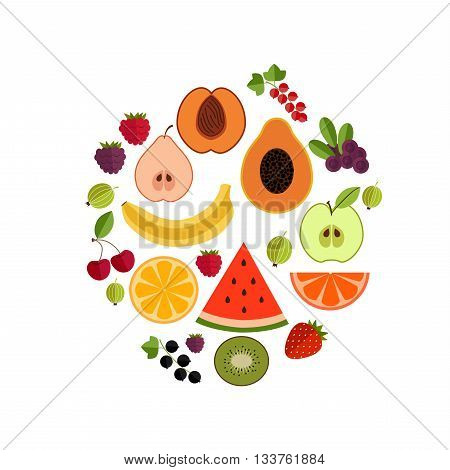 Fruit flat composition. Vector fruit icons circle illustration. Concept of flat fruits and berries icons. Colorful fruit composition for your design. Composition of fruits and berries isolated