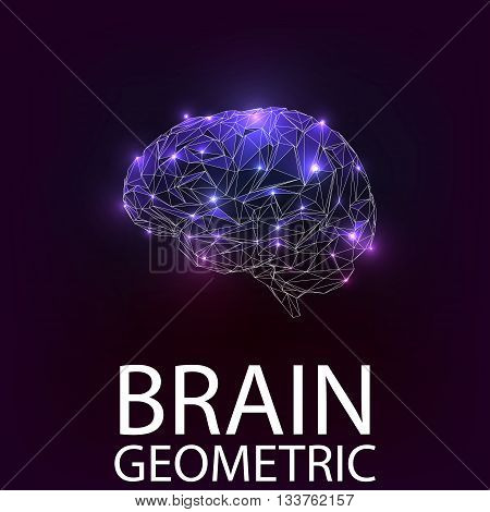 Brain geometric shapes. Vector brain. Brain icon. Brain sign. Brain symbol, Illustration EPS 10