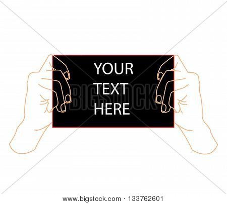 two hands holding black sheet. Concept of notice, display, contract notify, announce, postcard, gesture, without list, tag, placard. flat style modern design vector illustration on white background