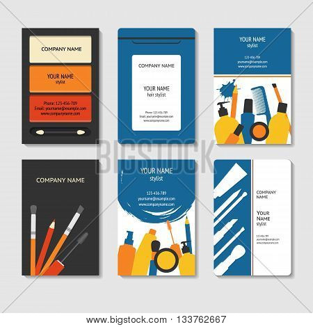 Cosmetic and beauty theme business cards set template for poster colorful creative banner brochure title sheet in modern flat style