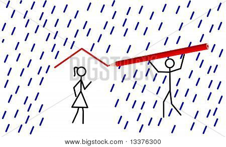 Stickman Provides Shelter For His/her Love