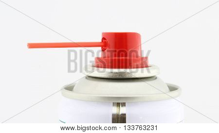 Red spray head with disperser, on white