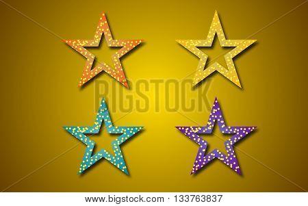 Star icons on orange background. Vector illustration EPS 10