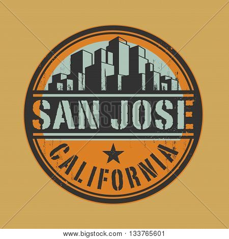 Stamp or label with name of San Jose, California, vector illustration