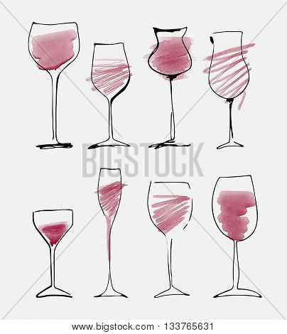 Wine glass set - watercolor collection of sketched wineglasses