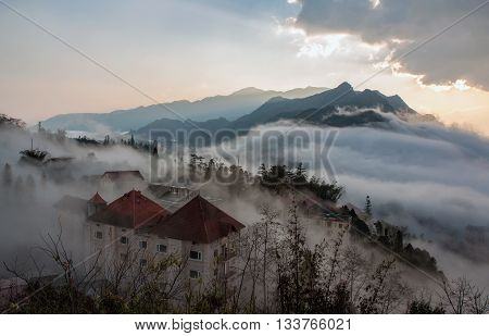 Sapa mountain town of Lao Cai province, in the morning fog