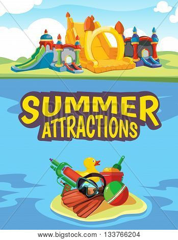 Vector illustration of inflatable castles and children hills on playground. Advertise poster with place for your text