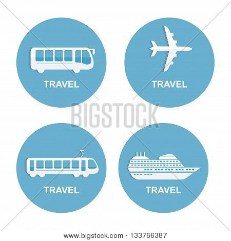 Vector illustration of colorful transport related icons. Bus ship, train, jet travel symbol