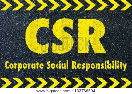CSR - Corporate social responsibility word on road