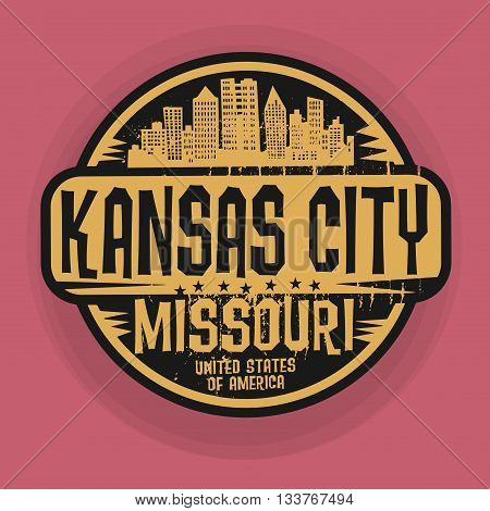 Stamp or label with name of Kansas City, Missouri, vector illustration