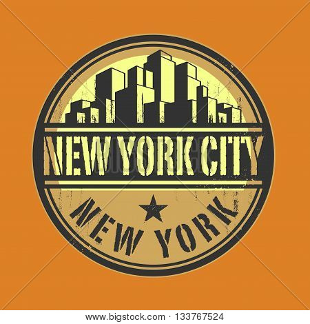 Stamp or label with name of New York City, New York, vector illustration