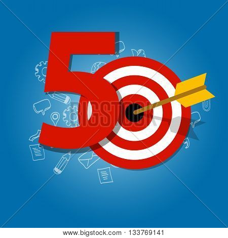 fifty years target in business calendar list of achievement vector