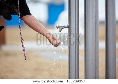 Woman Giving Dog Water To Drink From Spigot