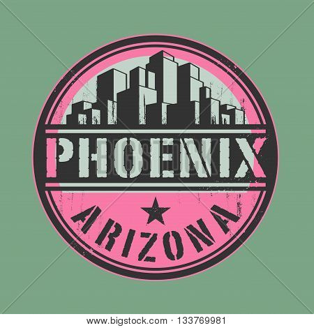Stamp or label with name of Phoenix, Arizona, vector illustration