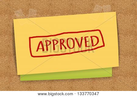 APPROVED word on sticky note business concept