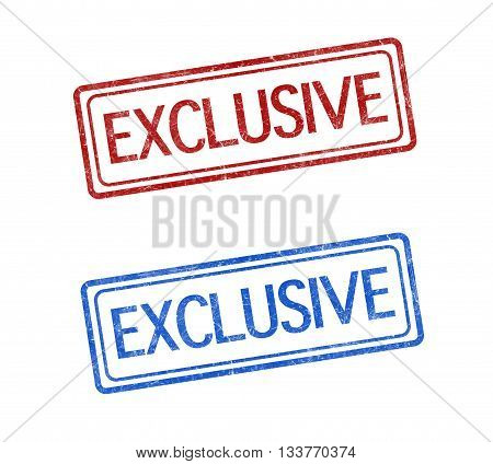 exclusive stamp red and blue on white background