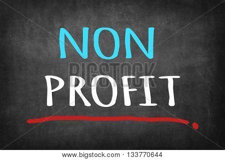 Non Profit colorful word on black blackboard background