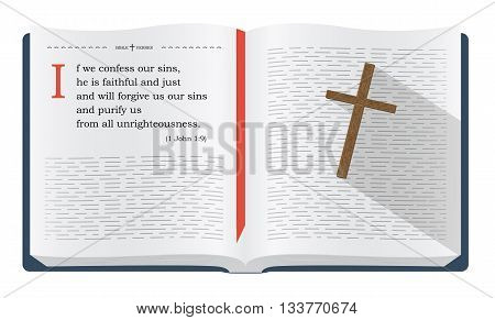 Best Bible verses to remember - 1 John 1:9 about forgiveness. Holy scripture inspirational sayings for Bible studies and Christian websites illustration isolated over white background
