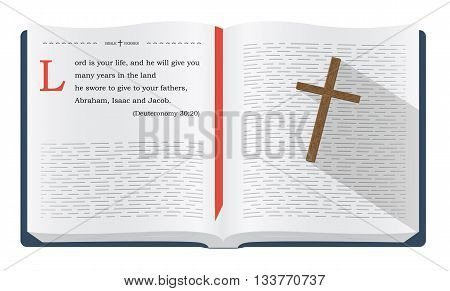 Best Bible verses to remember - Deuteronomy 30:20. Holy scripture inspirational sayings for Bible studies and Christian websites illustration isolated over white background