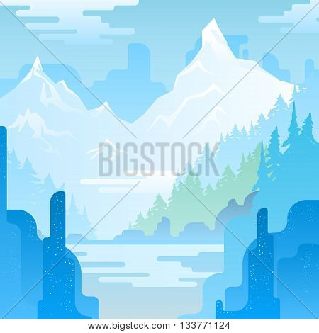 Vector landscape with huge blue mountains and lake.