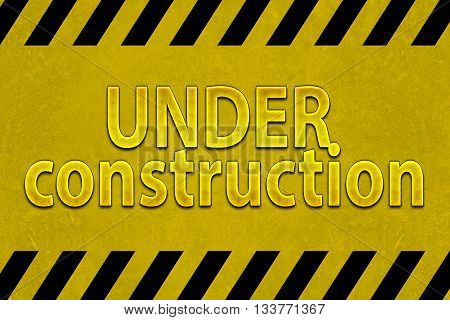 under construction word on yellow sign background