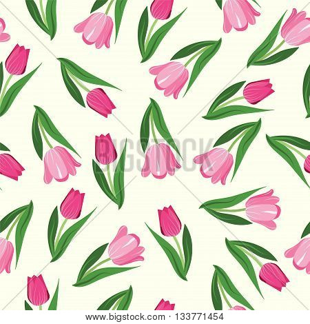 Romantic hand drawn background with tulips. Vintage seamless pattern Tulips.Seamless pattern with garden flowers